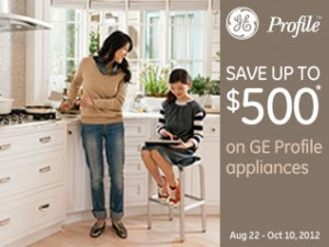 Save up to $500* on GE Profile™ appliances Save $500 when you buy 4 Save $300 when you buy 3 Save $100 when you buy 2   Save money on appliances that save time in the kitchen. GE Profile™ appliances are designed with smart, new features that simplify cooking and elevate the everyday meal. Receive a Visa® prepaid card* valued up to $500 on select GE Profile kitchen appliances.  Offer valid August 22 - October 10, 2012.